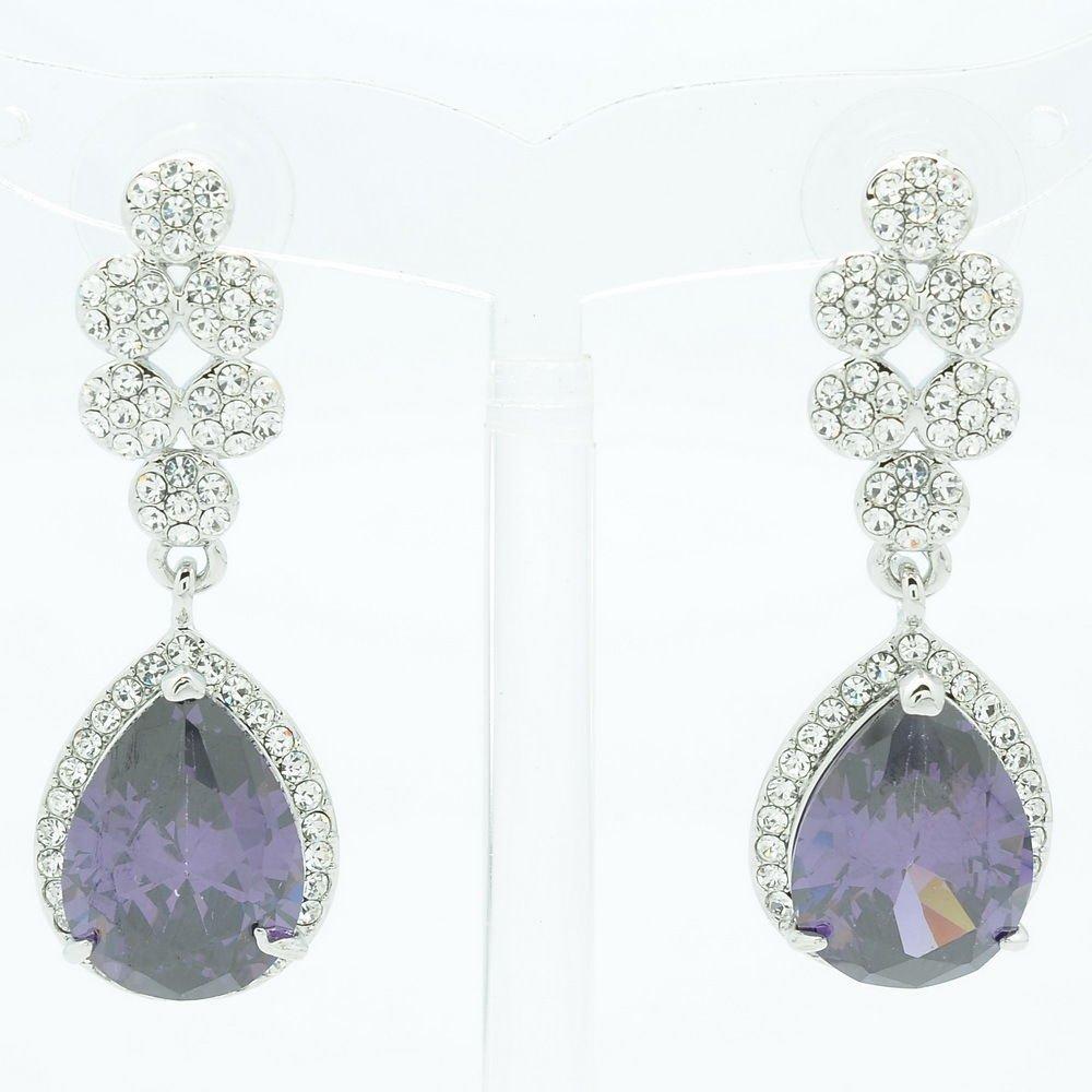 Women Dangle Tear Drop Earring W/ Purple CZ Zircon Rhinestone Crystals 20662