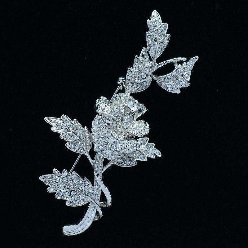 Romantic Wedding Bridal Cute Leaf Flower Rose Brooch Pin Rhinestone Crystal 4754