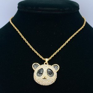 Cute High Quality Panda Pendant Charm Necklace W/ Swarovski Crystals