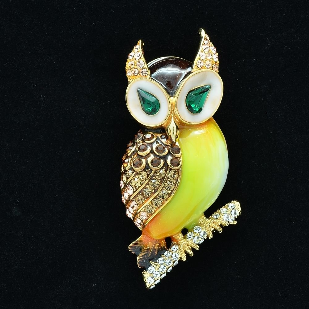 High Quality Swarovski Crystal Animal Brown Enamel Owl Brooch Broach Pin SBA4521