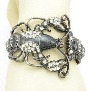 Retro Black Enamel Lobster Bracelet Bangles Cuff W/ Clear Rhinestone Crystals