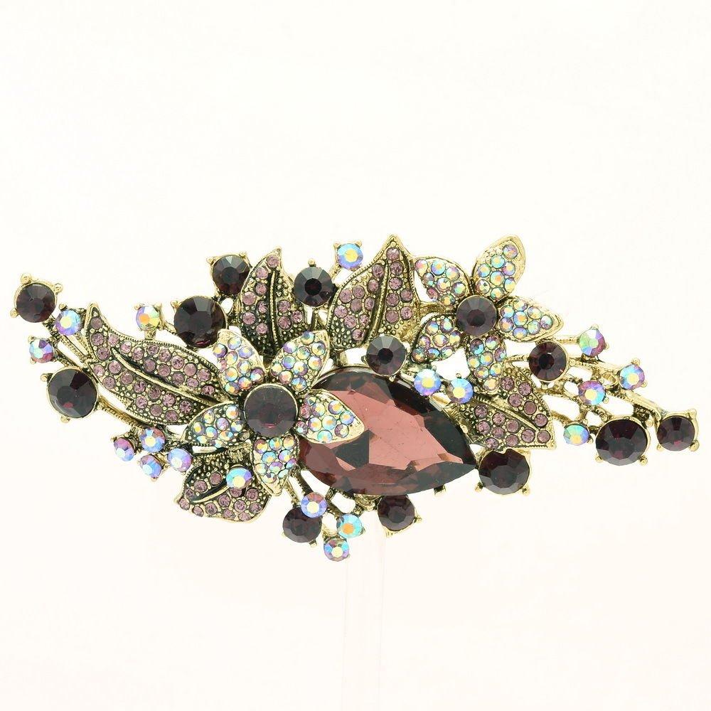 Vintage Glitzy Drop Leaf Flower Brooch Broach Pin Purple Rhinestone Crystal 6405