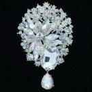 Bridal Jewelry Drop Flower Brooch Broach Pins Clear Rhinestone Crystals 6022