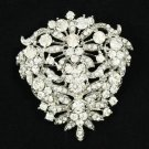 Rhinestone Crystals Cute Clear Flower Brooch Broach Pins Bridal Jewelry 3802