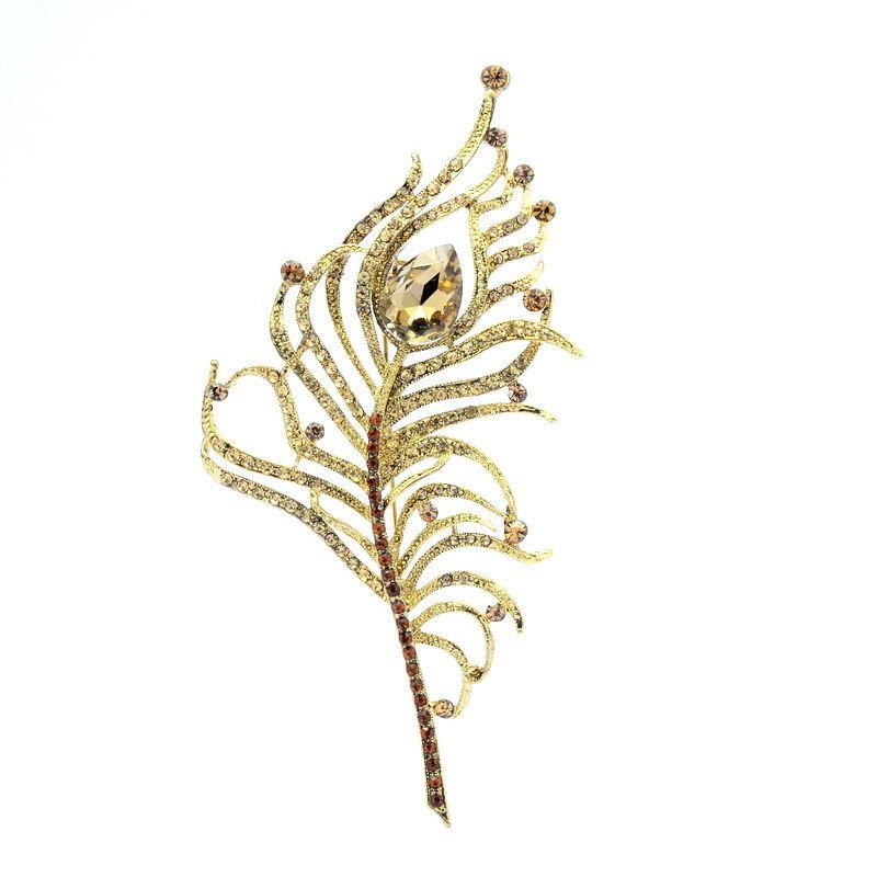 Drop Brown Rhinestone Crystals Vintage Peacock Feather Brooch Broach Pin 5860