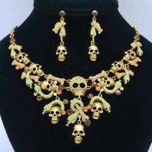 Topaz Swarovski Crystal Vintage Snake Skull Necklace Earring Jewelry Sets