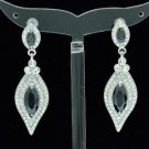 Flower Double Tear Drop Earring Clear Rhinestone Crystal Black Acrylic 2046
