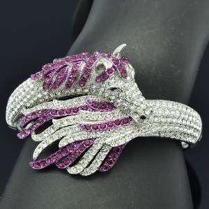 Fashion Purple Rhinestone Crystals Tail Steed  Horse Bracelet Bangle