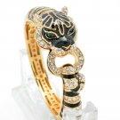 Fabulous Clear Swarvoski Crystal Black Enamel Leopard Panther Bracelet Cuff 2252
