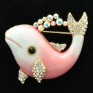 Luxury Swarovski Crystal Pink Enamel Dolphin Brooch Broach Pins Jewelry SBA4520