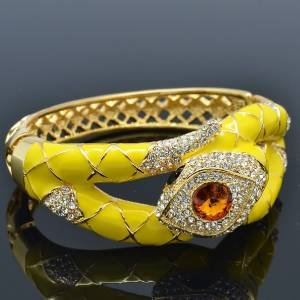 Excellent Swarovski Crystals Yellow Enamel Boa Snake Bracelet Bangle Cuff
