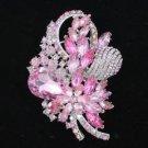 "Retro Drop Pink Bouquet Flower Brooch Pin 3.5"" Rhinestone Crystals 4622"