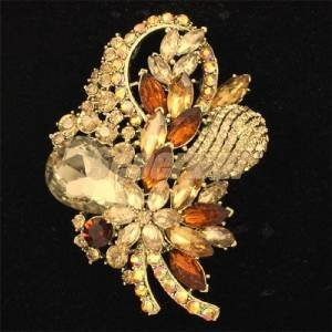 "Retro Brown Drop Bouquet  Flower Brooch Pin 3.5"" Rhinestone Crystals 4622"
