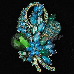 "Retro Green  Bouquet Flower Brooch Pin 3.5"" Rhinestone Crystals 4622"
