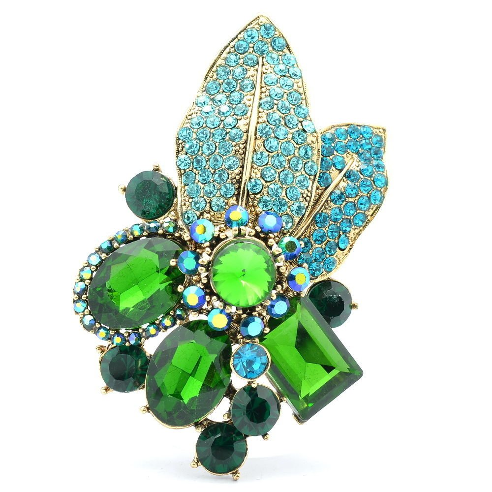 Gorgeous Leaf Floral Pendant Brooch Pin W/ Green Oval Rhinestone Crystals 6416