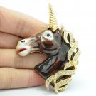 Swarovski Crystals Animal Brown Enamel Horse Unicorn Brooch Broach Pins SBA4522