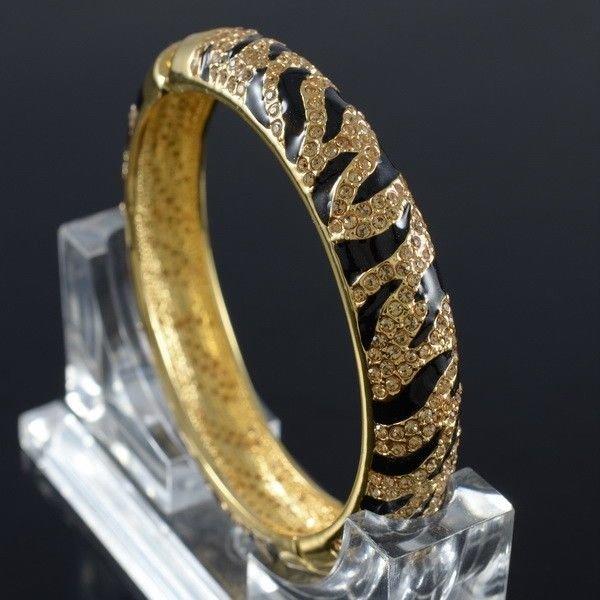 High Quality Tiger Grain Cuff Bracelet Bangle Swarovski Crystal