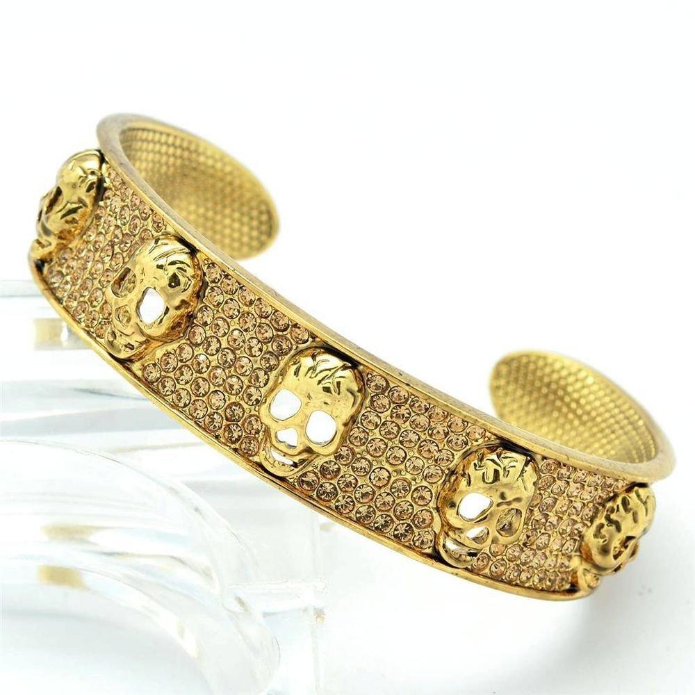 Gold Tone 5 Skull Bracelet Bangle Cuff W/ Brown Swarovski Crystal Hallowmas