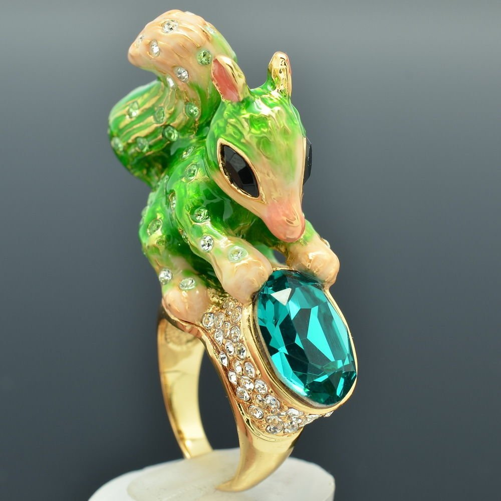 New Swarovski Crystals Green Enamel Squirrel Cocktail Ring Size 8# SRA2144-3