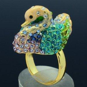 18KGP Lovely Green Swan Cocktail Ring Sz Adjustable w/ Swarovski Crystals