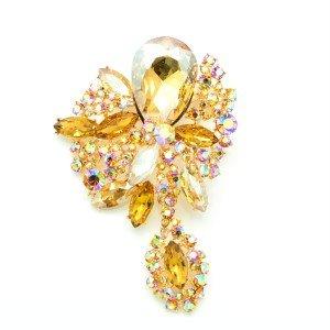 Tear Drop Topaz Rhinestone Crystals Dangle Flower Brooch Pin Women Jewelry 6416