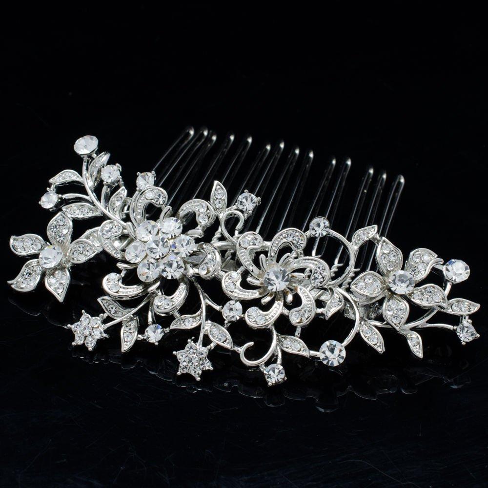 Clear Flower Rhinestone Crystal Comb Hair Accessories for Wedding Bridal 2251R