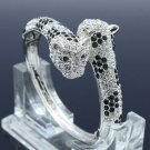 Rhinestone Crystals Silver Tong Fabulous Panther Leopard Bracelet Bangle 20394