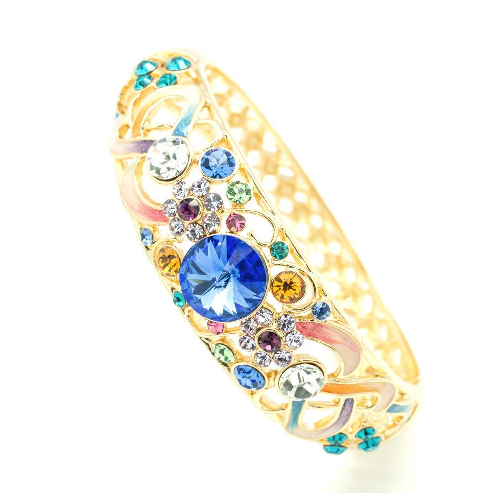 Luxury Swarovski Crystal Mix Enamel Flower Bracelet Bangle Cuff Women SKCA1609A