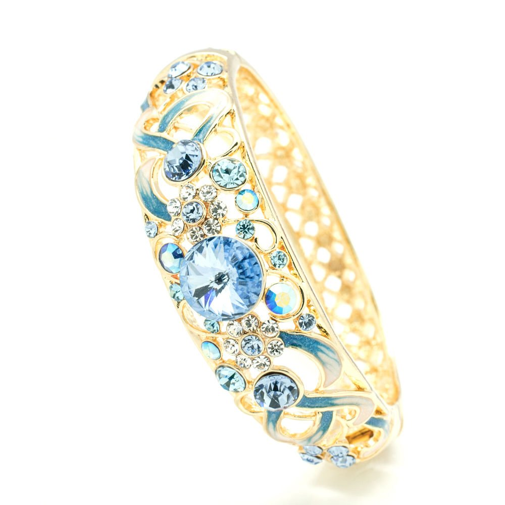 New Art Deco Swarovski Crystal Blue Enamel Flower Bracelet Bangle Cuff SKCA1609A