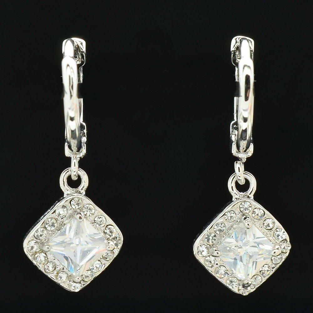Dangle Hoop Pierced Earring Zircon Wedding Ball Jewelry Rhinestone Crystal 64038