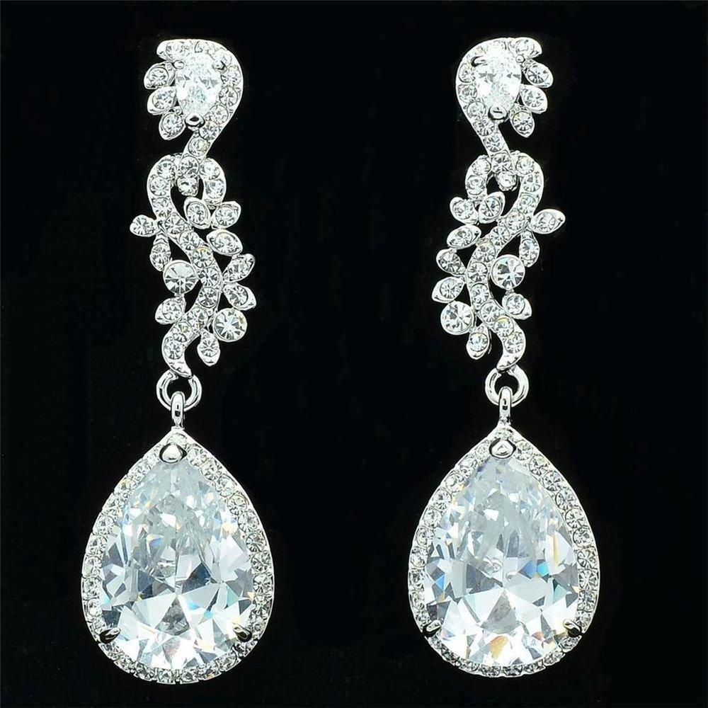 Bridal Bridesmaid Drop Dangle Pierced Earring Clear Rhinestone Crystal 20528