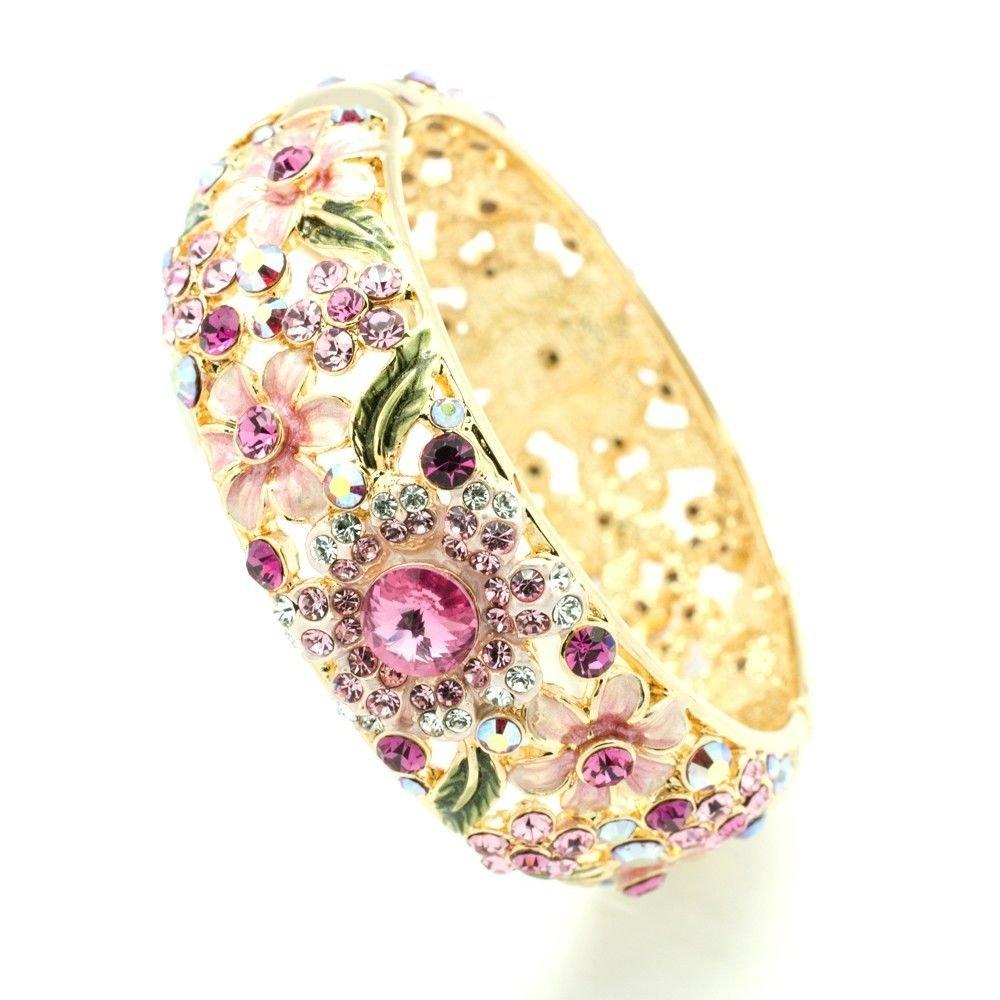 Luxury Enamel Pink Leaf Flower Bracelet Bangles Cuff Swarovski Crystals 1305M