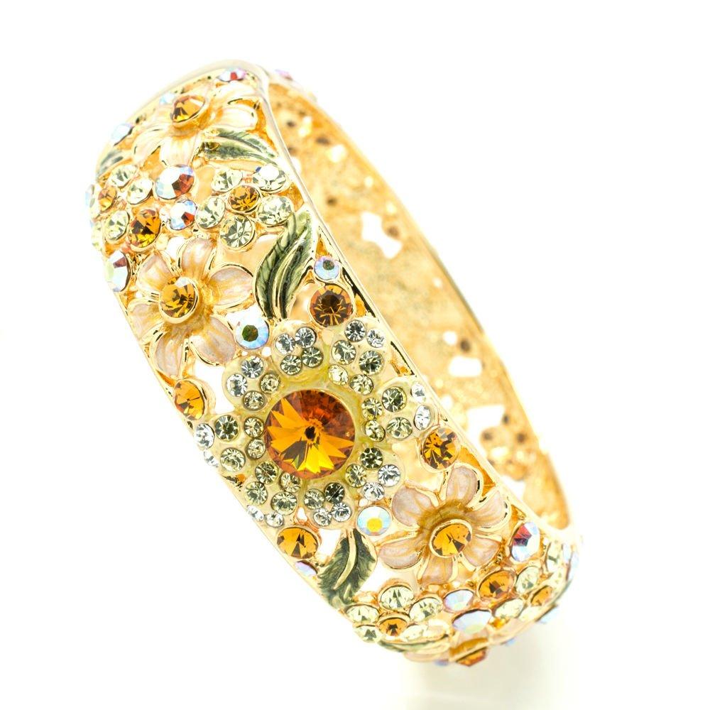 Luxury Enamel Yellow Leaf Flower Bracelet Bangles Cuff Swarovski Crystals 1305M