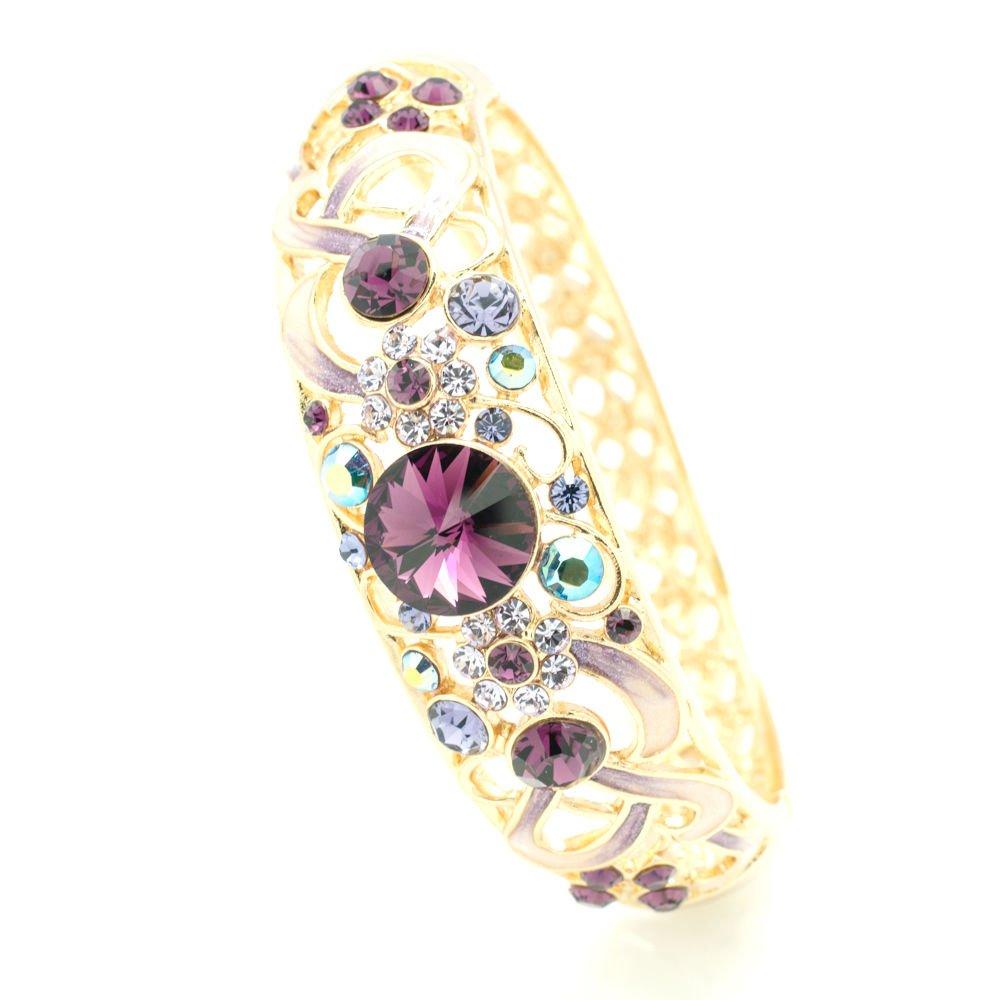 New Design Swarovski Crystal Purple Enamel Flower Bracelet Bangle Cuff SKCA1609A