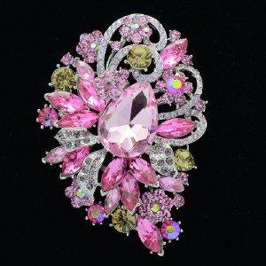 Silver Tone Pink Rhinestone Crystals Drop Flower Brooch Broach Pin 6075