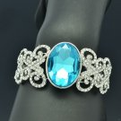 Blue Glass Wedding Butterfly Bracelet Bangle Cuff Rhinestone Crystals E9063B