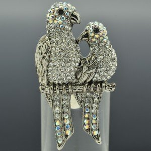 Hi-Q Cute Clear Swarovski Crystals Bird 2 Parrot Ring Adjustable Animal