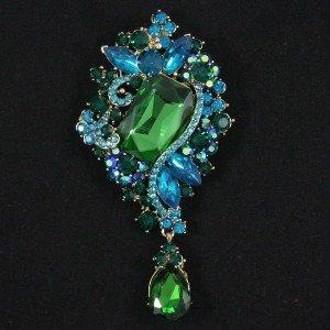 "Glaring Green Drop Flower Brooch Pin Pendant 3.7"" Women Rhinestone Crystals 4823"