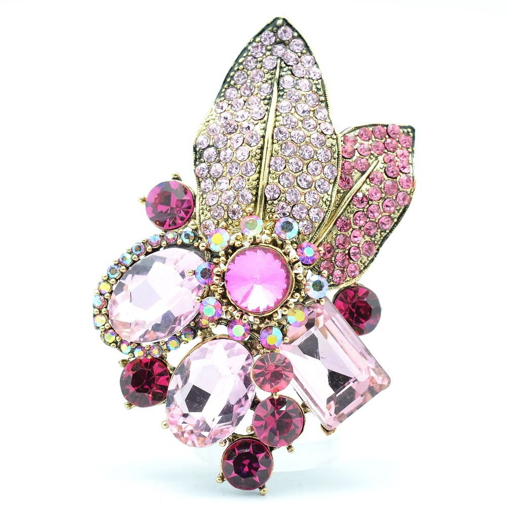 Gorgeous Leaf Floral Pendant Brooch Pin W/ Pink Oval Rhinestone Crystals 6416