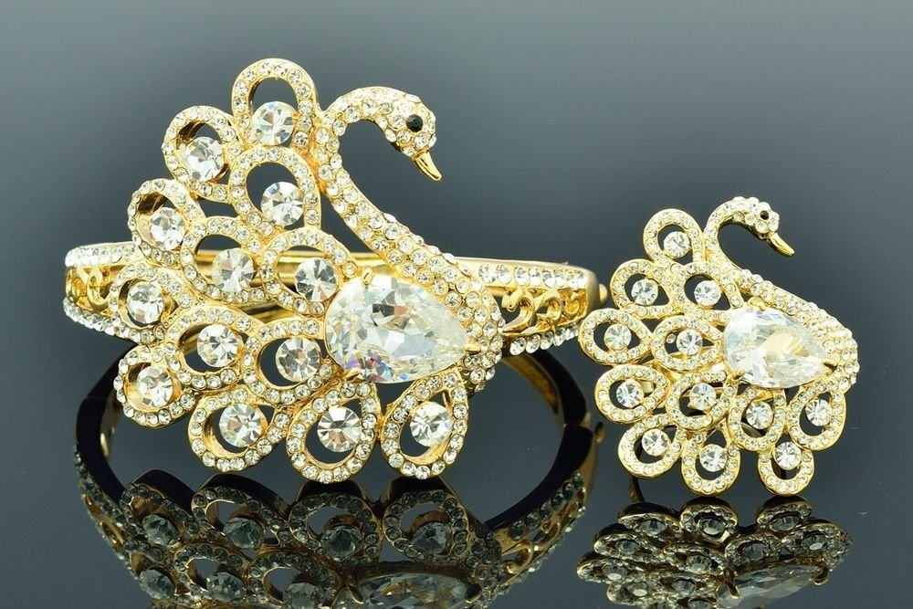Gold Tone Animal Swan Bracelet Bangle Ring Set W Clear Swarovski Crystal  627101