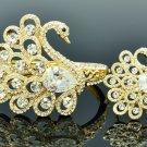 Gold Tone Animal Swan Bracelet Bangle Ring Set W Clear Swarovski Crystal  627101