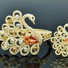 Luxury Animal Brown Swan Bracelet Bangle Ring Set Drop Swarovski Crystals 627201