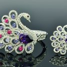 Drop Swarovski Crystals Vogue Animal Purple Swan Bracelet Bangle Ring Set 627801