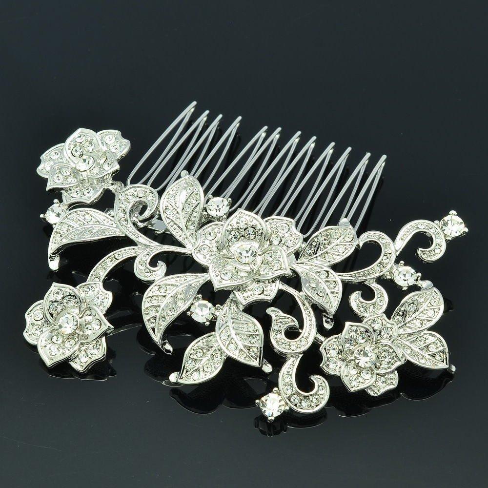Vintage Rhinestone Crystal Bridal Flower Wedding Hair Comb Headband Jewelry 4002