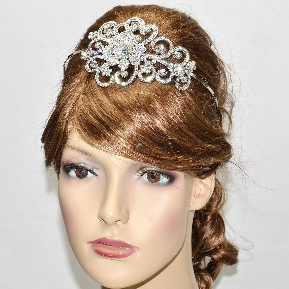 Dazzling Wedding Bridal Flower Headband Hair Jewelry Clear Rhinestone Crystal