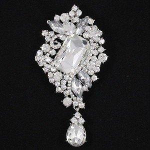 Trendy Weding Bridal Jewelry Clear Flower Brooch Pins Rhinestone Crystals 4823
