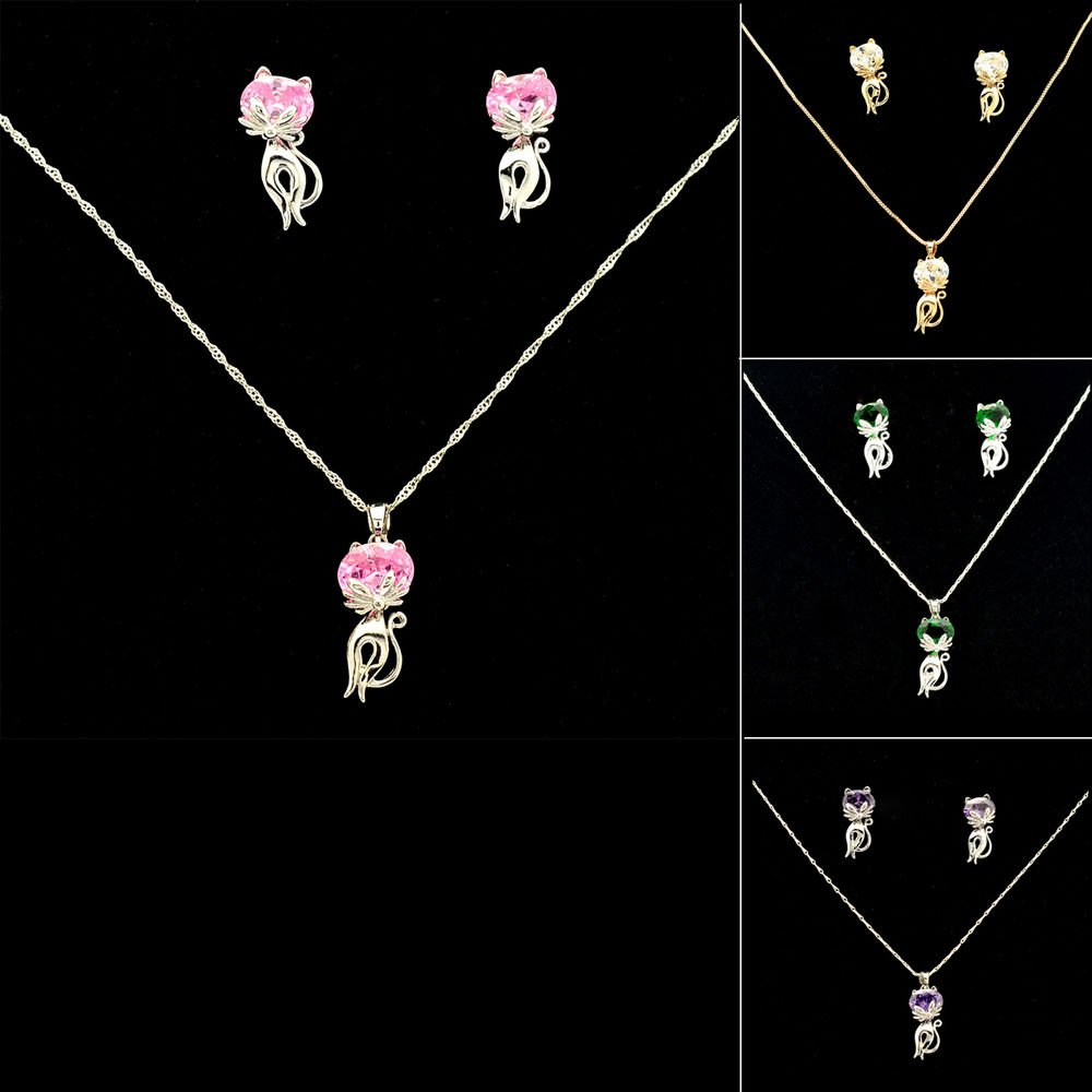 Cute Kitty Cat Necklace Earring Jewelry Sets w/ Pink/Green/Clear/Purple