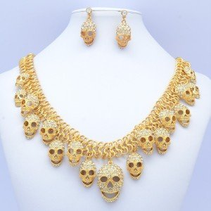 Halloween Lots Skull Necklace Pendent Clear Rhinestone Crystal Gold Tone