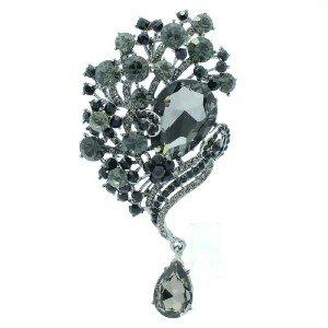 Black Rhinestone Crystals Pretty Floral Flower Brooch Broach Pin 6074
