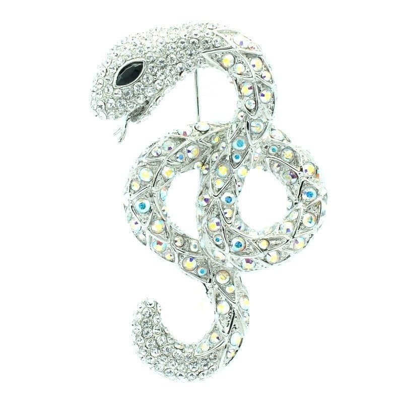 "Popular Swarovski Crystals Cute Animal Clear Snake Brooch Pin 2.6"" SBA4440-2"